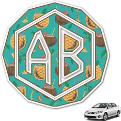 Coconut Drinks Monogram Car Decal (Personalized)