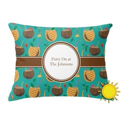 Coconut Drinks Outdoor Throw Pillow (Rectangular) (Personalized)