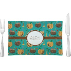 Coconut Drinks Glass Rectangular Lunch / Dinner Plate - Single or Set (Personalized)