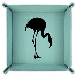 Pink Flamingo Teal Faux Leather Valet Tray (Personalized)