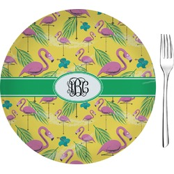 """Pink Flamingo Glass Appetizer / Dessert Plate 8"""" (Personalized)"""