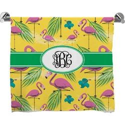 Pink Flamingo Full Print Bath Towel (Personalized)