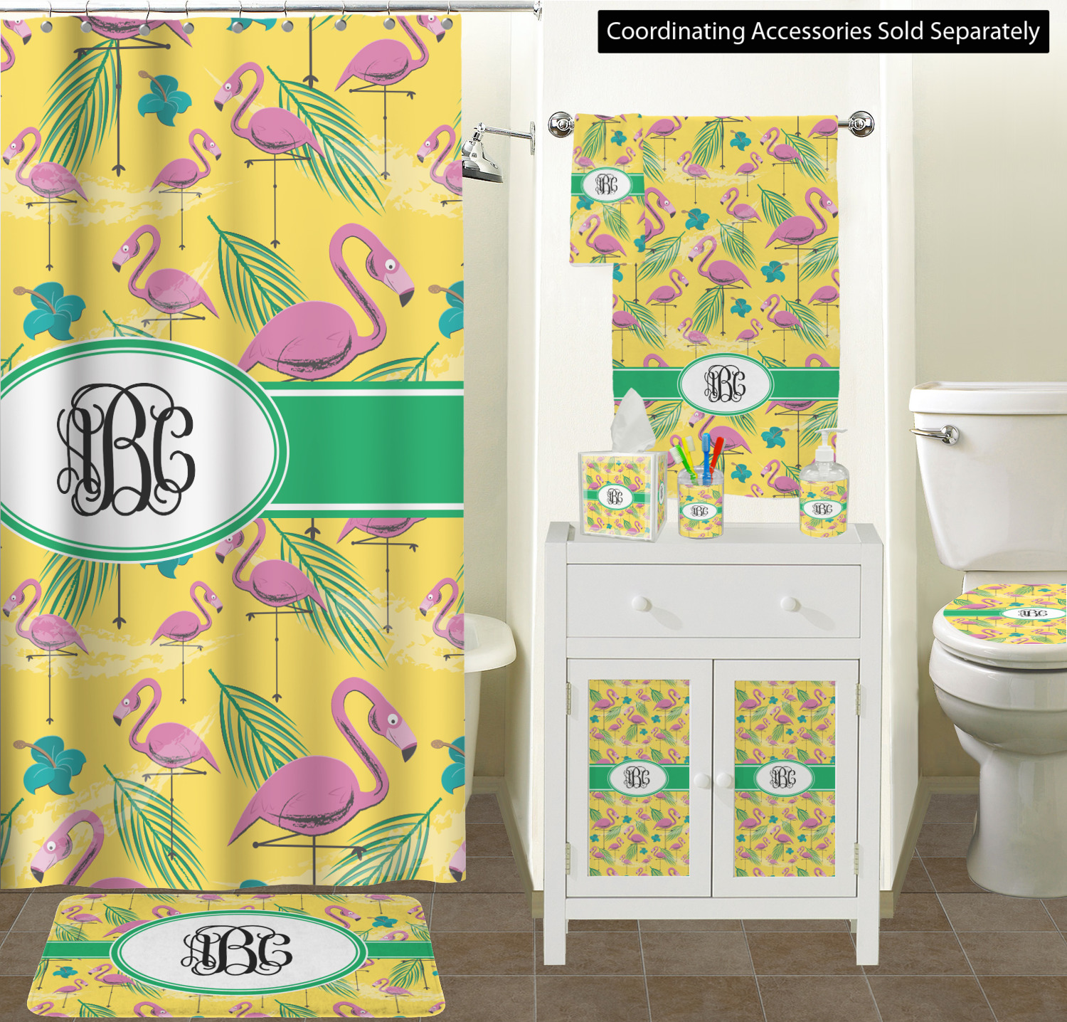 Set Personalized Pink Flamingo Bathroom Scene