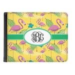 Pink Flamingo Genuine Leather Men's Bi-fold Wallet (Personalized)