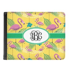 Pink Flamingo Genuine Leather Men's Bi-fold Wallet (Personalized)