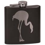 Pink Flamingo Black Flask Set (Personalized)