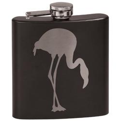 Pink Flamingo Black Flask (Personalized)