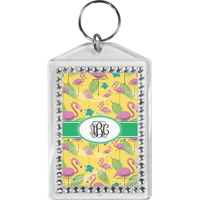Pink Flamingo Bling Keychain (Personalized)