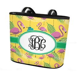 Pink Flamingo Bucket Tote w/ Genuine Leather Trim (Personalized)