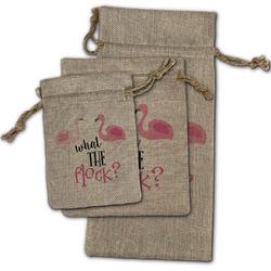 Pink Flamingo Burlap Gift Bags (Personalized)