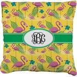 Pink Flamingo Faux-Linen Throw Pillow (Personalized)