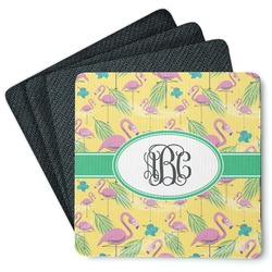 Pink Flamingo 4 Square Coasters - Rubber Backed (Personalized)