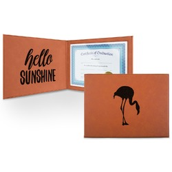Pink Flamingo Leatherette Certificate Holder (Personalized)