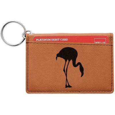 Pink Flamingo Leatherette Keychain ID Holder (Personalized)