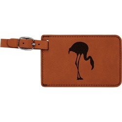 Pink Flamingo Leatherette Luggage Tag (Personalized)