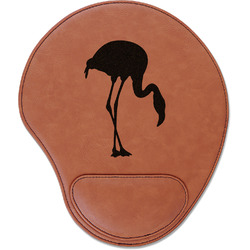 Pink Flamingo Leatherette Mouse Pad with Wrist Support (Personalized)
