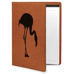 Pink Flamingo Leatherette Portfolio with Notepad (Personalized)