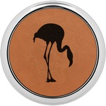 Pink Flamingo Leatherette Round Coaster w/ Silver Edge - Single or Set (Personalized)