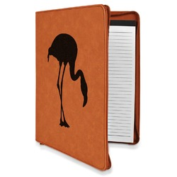 Pink Flamingo Leatherette Zipper Portfolio with Notepad (Personalized)