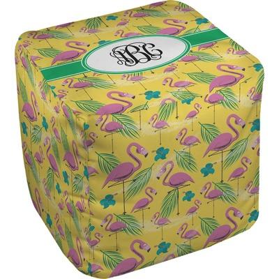 Pink Flamingo Cube Pouf Ottoman (Personalized)