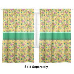 "Pink Flamingo Curtains - 20""x63"" Panels - Unlined (2 Panels Per Set) (Personalized)"