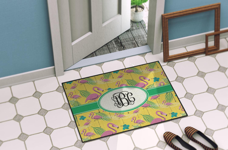 Pink Flamingo Door Mat Personalized Youcustomizeit