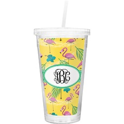Pink Flamingo Double Wall Tumbler with Straw (Personalized)