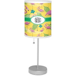 """Pink Flamingo 7"""" Drum Lamp with Shade Linen (Personalized)"""