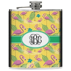 Pink Flamingo Genuine Leather Flask (Personalized)