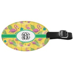 Pink Flamingo Genuine Leather Oval Luggage Tag (Personalized)