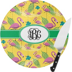 Pink Flamingo Round Glass Cutting Board (Personalized)