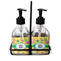 Pink Flamingo Glass Soap & Lotion Bottles (Personalized)