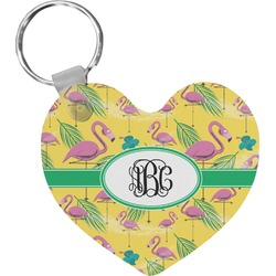 Pink Flamingo Heart Keychain (Personalized)