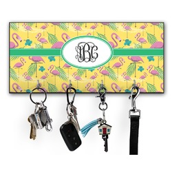 Pink Flamingo Key Hanger w/ 4 Hooks (Personalized)