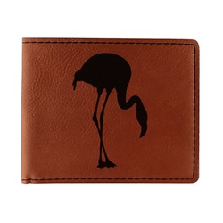 Pink Flamingo Leatherette Bifold Wallet - Double Sided (Personalized)