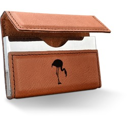 Pink Flamingo Leatherette Business Card Holder (Personalized)