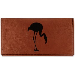Pink Flamingo Leatherette Checkbook Holder (Personalized)