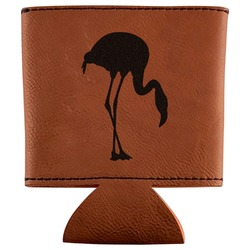 Pink Flamingo Leatherette Can Sleeve (Personalized)