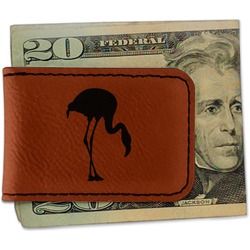 Pink Flamingo Leatherette Magnetic Money Clip (Personalized)