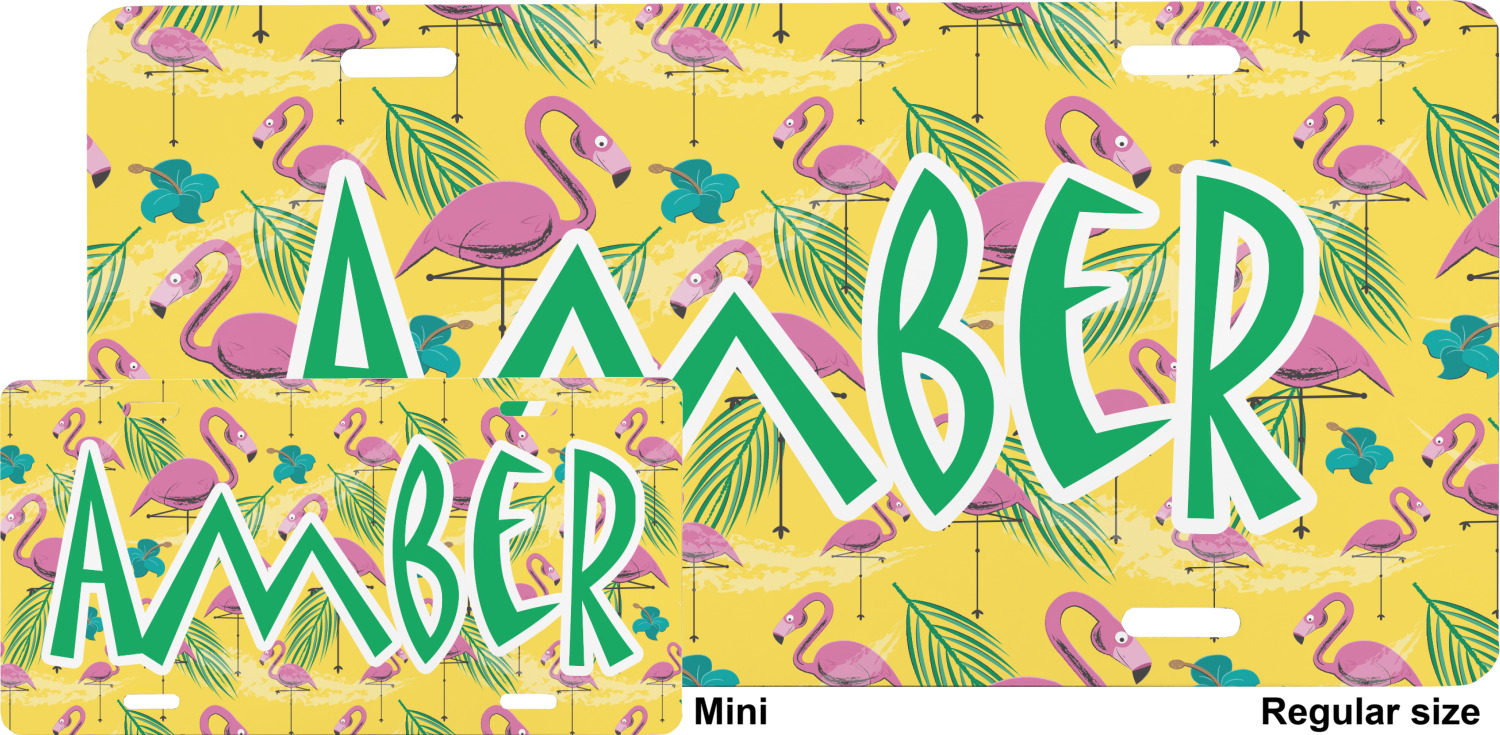Pink Flamingo Mini Bicycle License Plate Personalized