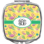 Pink Flamingo Compact Makeup Mirror (Personalized)