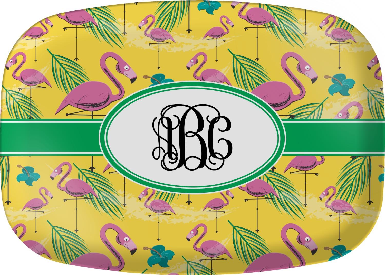 pink flamingo melamine platter  personalized