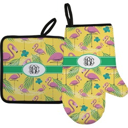 Pink Flamingo Oven Mitt & Pot Holder (Personalized)