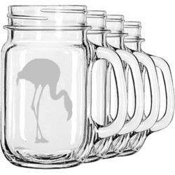 Pink Flamingo Mason Jar Mugs (Set of 4) (Personalized)