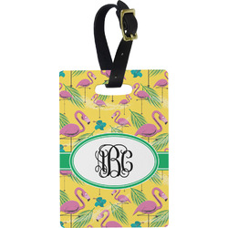 Pink Flamingo Rectangular Luggage Tag (Personalized)