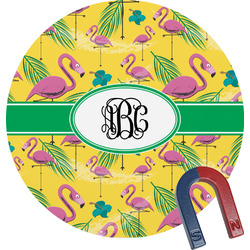 Pink Flamingo Round Magnet (Personalized)