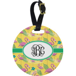 Pink Flamingo Round Luggage Tag (Personalized)