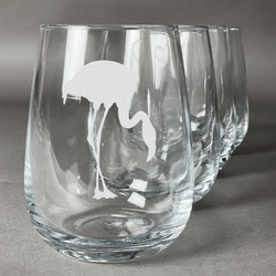 Pink Flamingo Stemless Wine Glasses (Set of 4) (Personalized)