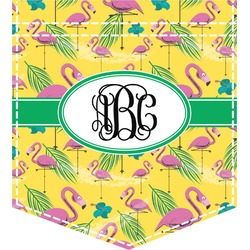 Pink Flamingo Iron On Faux Pocket (Personalized)