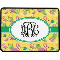 """Pink Flamingo Rectangular Trailer Hitch Cover - 1.25"""" (Personalized)"""